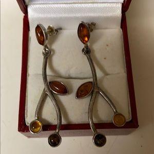 925 amber earrings